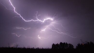 lightning, storm, night
