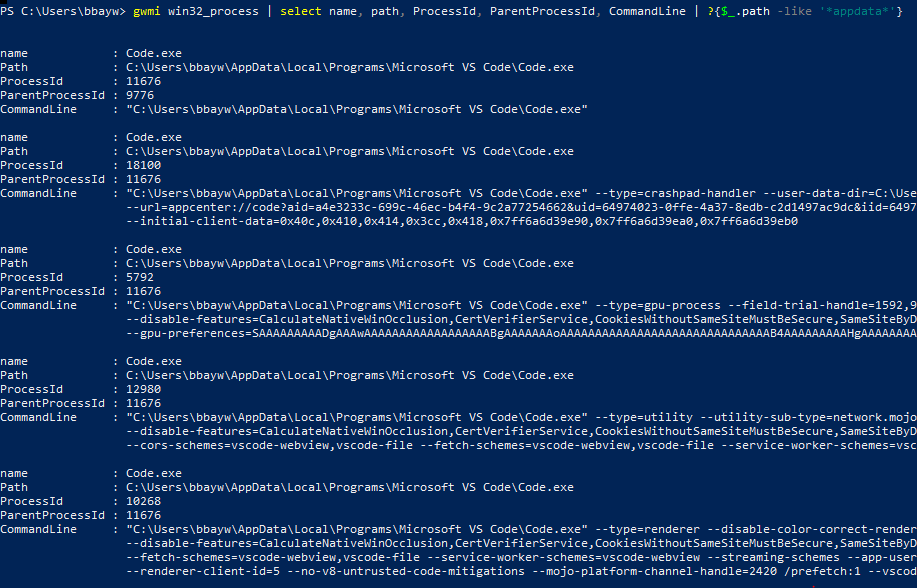 Retrieving a list of Win32_Process objects with specified properties.
